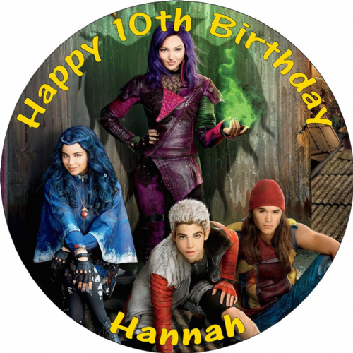 DESCENDANTS CAKE TOPPER  PERSONALISED EDIBLE ROUND BIRTHDAY CAKE DECORATION